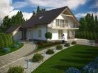 Проект уютного дома с цоколем, гаражом и мансардой